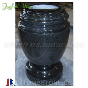 Black granite cemetery vase