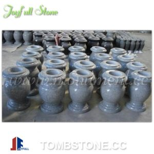 Grey granite memorial flower vase