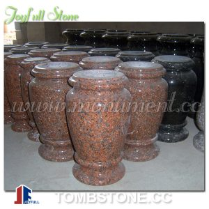 Red granite vases for cemetery