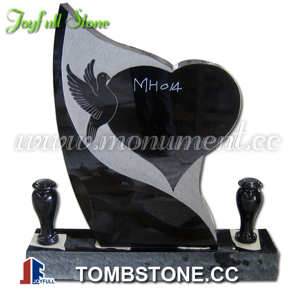 MH-014-(1) heart headstone with vases