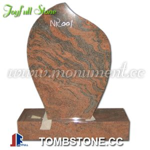 Multicolor Red Tear Drop Granite Tombstone