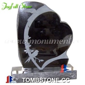 Heart shaped black granite headstones